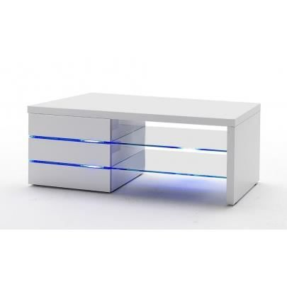 Meuble tv laque blanc avec led for Meuble tele a led