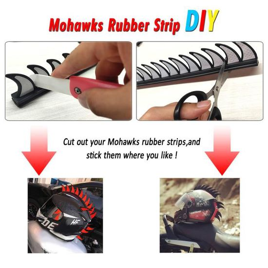 Perruque Mohawk Autocollant de Casque de Motos Bleu