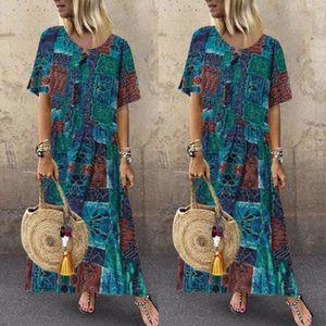 ROBE Femmes imprimé à manches courtes col V Maxi robe o