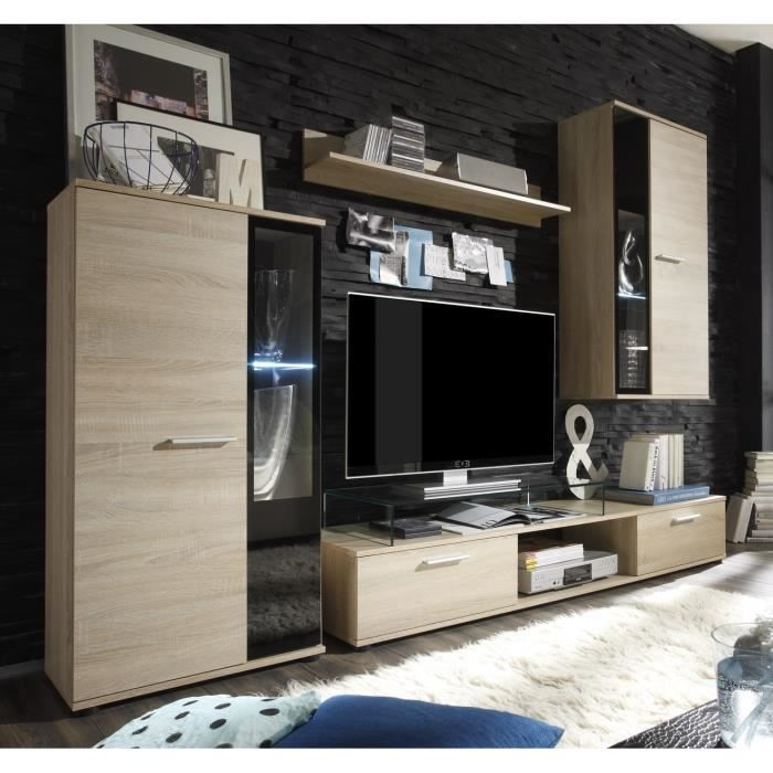 meuble tv mural 241cm coloris chene structur meubles bon prix moncornerdeco. Black Bedroom Furniture Sets. Home Design Ideas