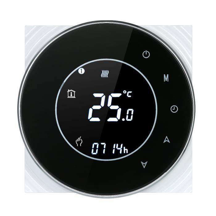 Decdeal Wi-Fi Thermostat Programmable Thermostat d'Ambiance Intelligent sans Fil avec Écran LCD Tactile - Noir