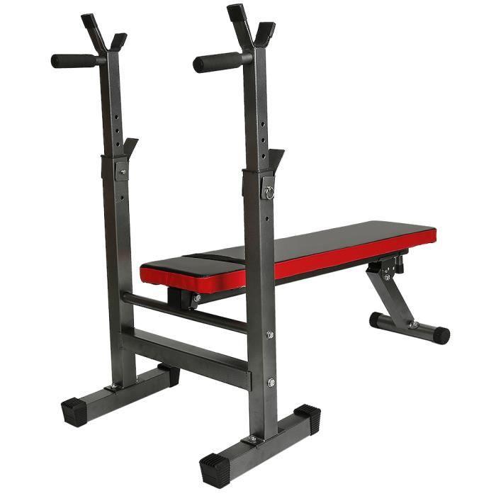 Banc de Musculation Pliable Réglable avec Support de Barres pour banc de poids -entrainement Sit-up redressements Noir-rouge