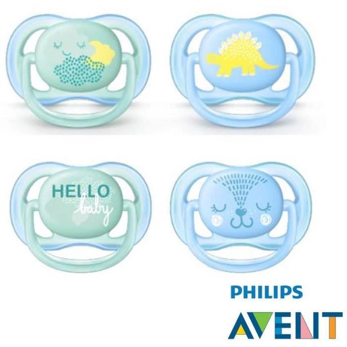 Sucettes Philips Avent Tétine Ultra Soft Air--Nouveauté 2018-Lot de 4-0–6 mois--Boy--+ 2 Ster ilisi Ertra Port Boîtes 775