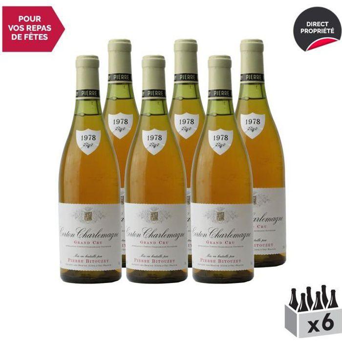 Corton-Charlemagne Blanc 1978 - Lot de 6x75cl - Pierre Bitouzet - Vin AOC Blanc de Bourgogne - Cépage Chardonnay