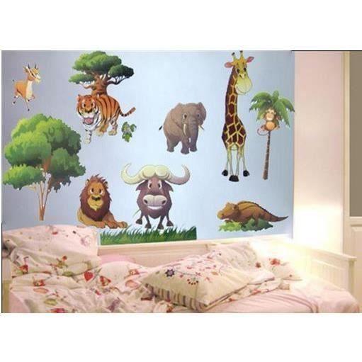 Sticker mural animaux de la jungle girafe éléphant tigre lion buffle singe crocodile gazelle arbres 60 cm x 33 cm