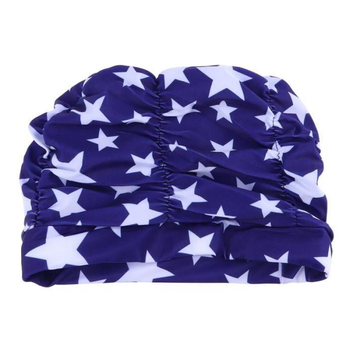 1 pc plissé élastique impression fleur bonnet de bain chapeau de de oreille protecteur de natation pour les femmes