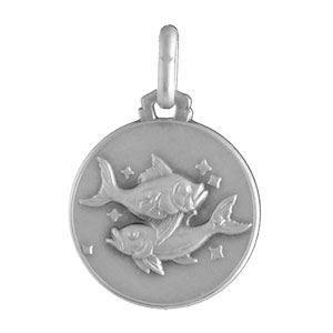 Médaille Argent zodiaque poissons