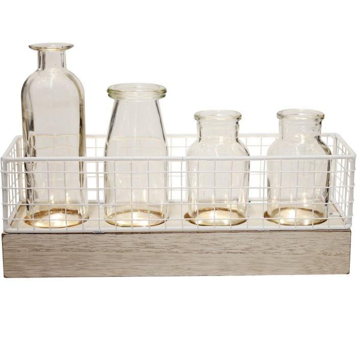 Ho Sho 39-1H-010 Set Plateau Bois avec grillage et 4 Vases assortis LED Beige blanc transparent MDF métal verre H10,5 x 8,5 x 30 cm