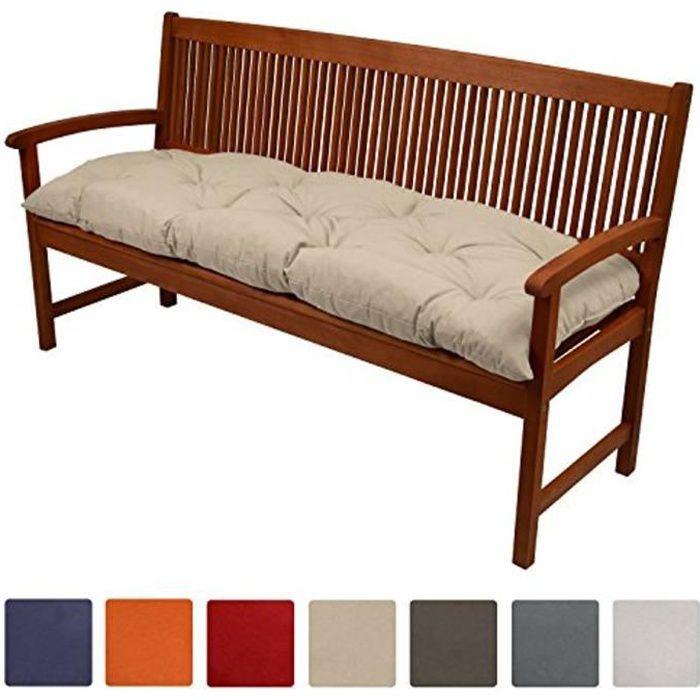 Beautissu Coussin banc Flair BK 120x50x10cm - Nature - Coussin pour banc de jardin, terrasse, balcon, balancelle