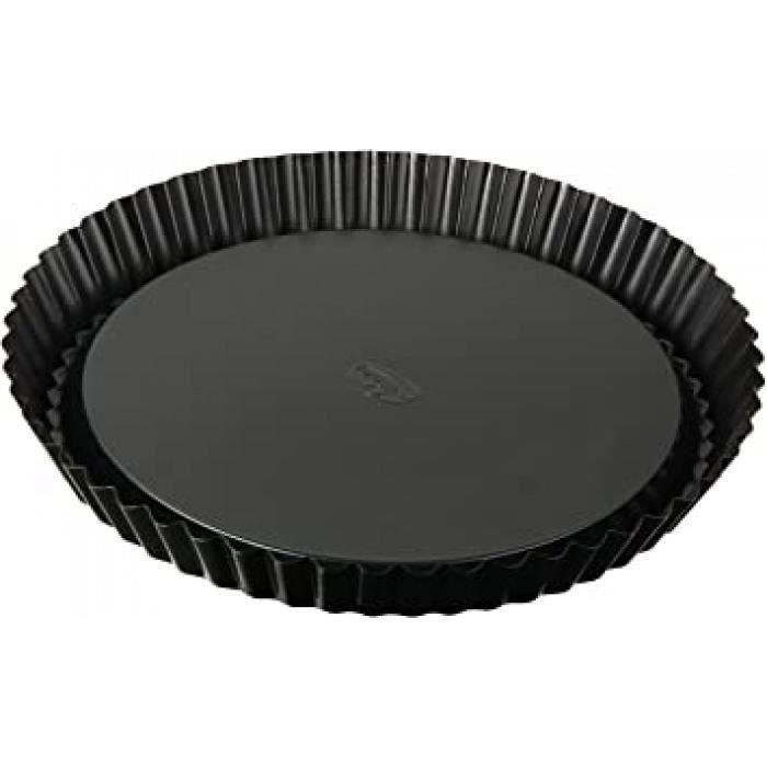 dr.oetker 1449 moule à tarte, moule à gâteau renversé, moule à pâtisserie, moule à tarte renversée, acier inoxydable, noir, 28 x 3,5