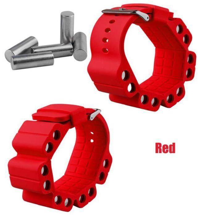 Maxarims 1 paire nouveau Silicone réglable poids Yoga Fitness plus lourd Bracelet exercice poids poi - Modèle: Rouge - HSJSZHA06018