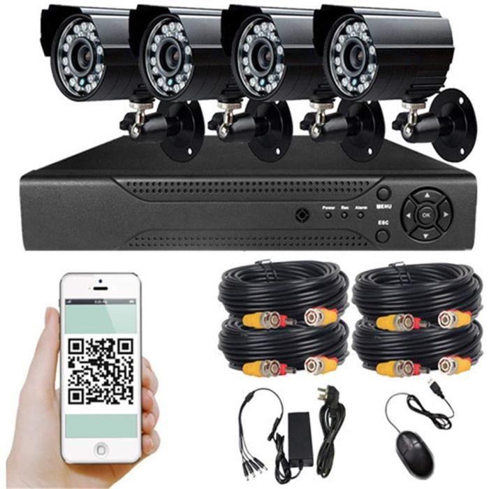 Kit de Vidéosurveillance 1080p TVI DVR avec 4 Caméras de Surveillance,IP67 étanche,Distance de rayonnement infrarouge 50m la Nuit