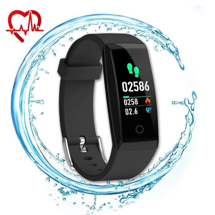 Montre Connectée, W8 Fitness tracker moniteur de fréquence cardiaque Smart Bracelet étanche Ipx7 suivi d'activité Smart Watch, Noir