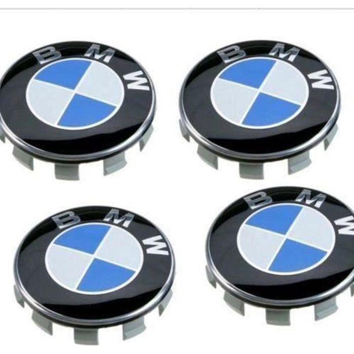4 X CENTRE DE ROUES CACHE MOYEU BMW CLASSIQUE LOGO BLEU DIAMETRE 68 MM NEUF L16838