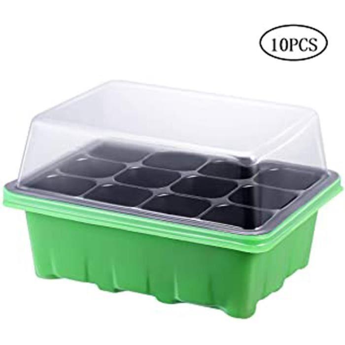 10 Pièce Mini Serre Pour Semis Avec 12 Cellules Mini Serre De Jardin Plastique Bac À Semis Pour Démarrage Et Croissance Semence Kit