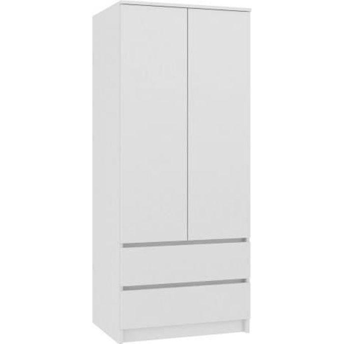 TURIN - Armoire chambre bureau - Penderie multifonctions - 2 portes - 2 grands tiroirs coullisants - Meuble de rangement - Dressing