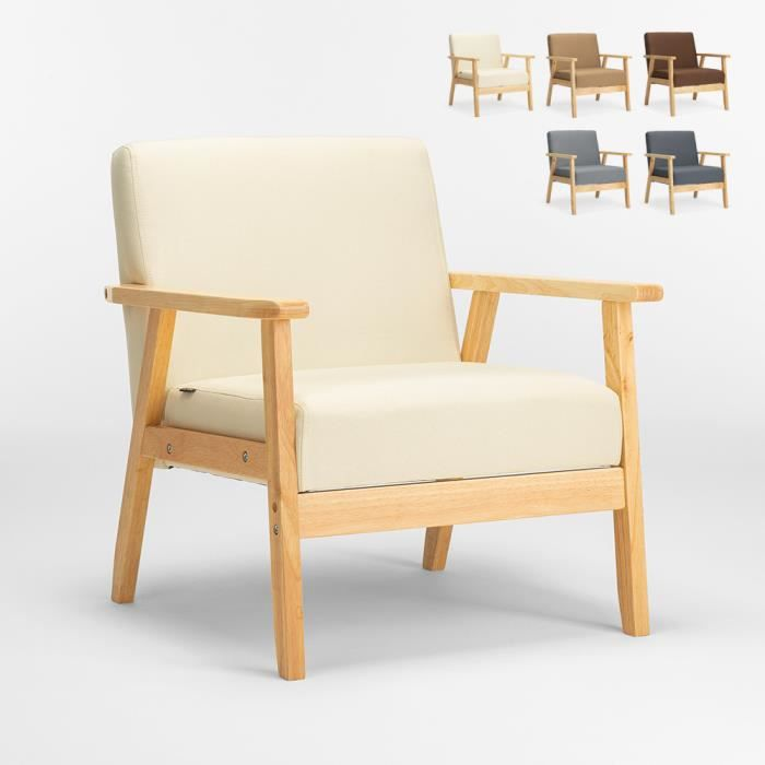 Fauteuil Chaise scandinave design vintage en bois avec accoudoirs Uteplass, Couleur: Blanc