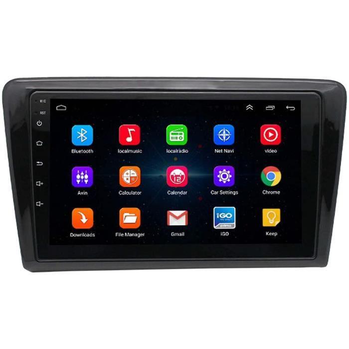 Autoradio 2 Din An oid pour VW Santana - 9 Pouces écran Tactile Bluetooth Poste Radio Voiture avec Camera de Recul, Appui FM-R[100]