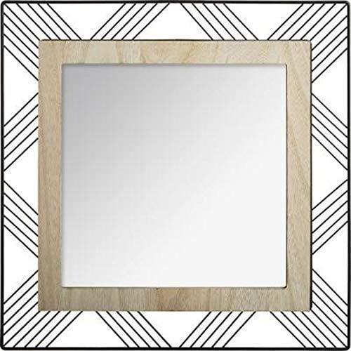 Atmosphera Créateur d'intérieur - Miroir Carré en Métal Bois Joe 45cm Noir[105]