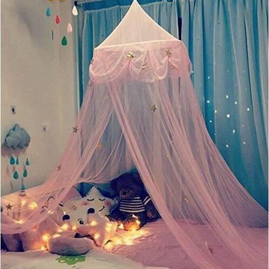 Ciel de Lit Fille Princesse Rose Chambre Papillons Moustiquaire en Filet