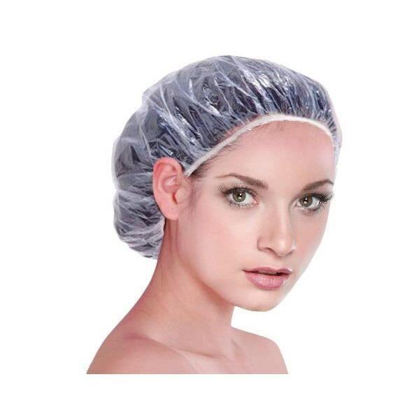100pcs Bonnets de Douche Jetables Transparent Imperméable en Plastique pour Salle De Bains, Spa, Usage Domestique, Hôtel et Salon de