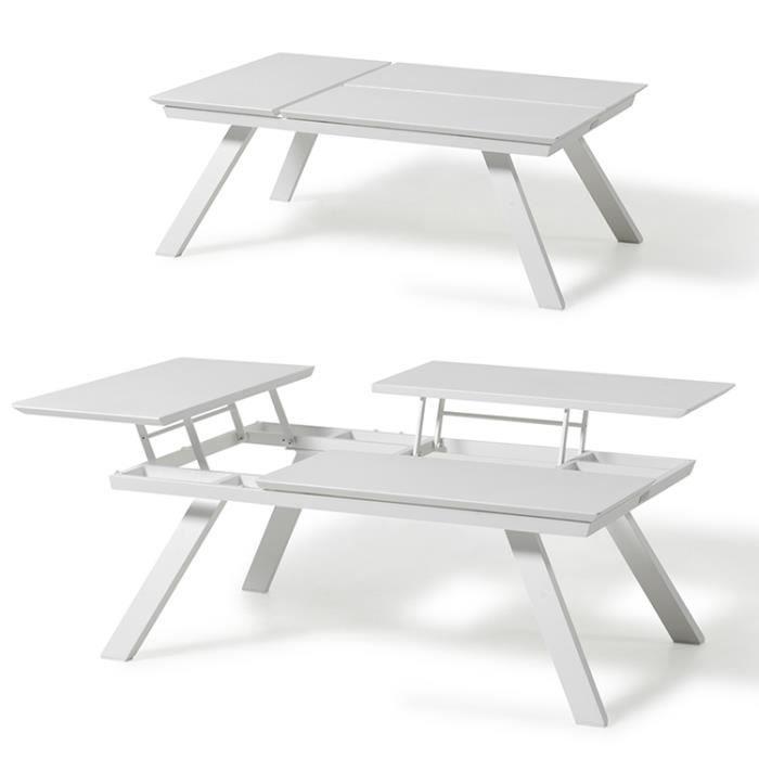 Table basse L 120 cm 3 plateaux relevables Kiona