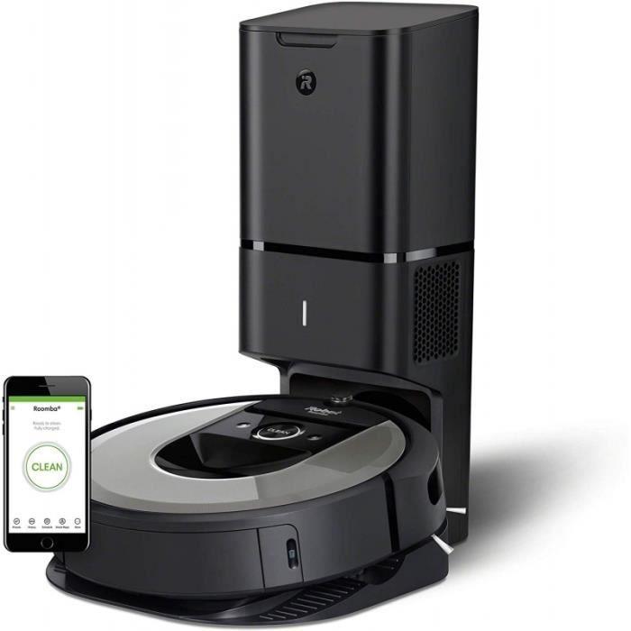 Aspirateur robot Irobot Roomba i7 + avec sa base auto-drainante CleanBase noire