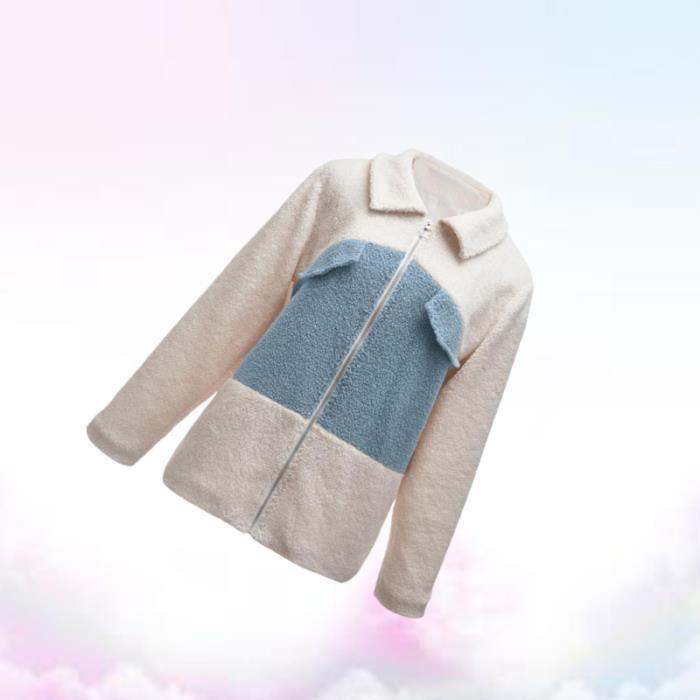 Manteau de couture chaud automne fermeture à glissière épais pardessus en peluche à manches longues avec poche pour les femmes