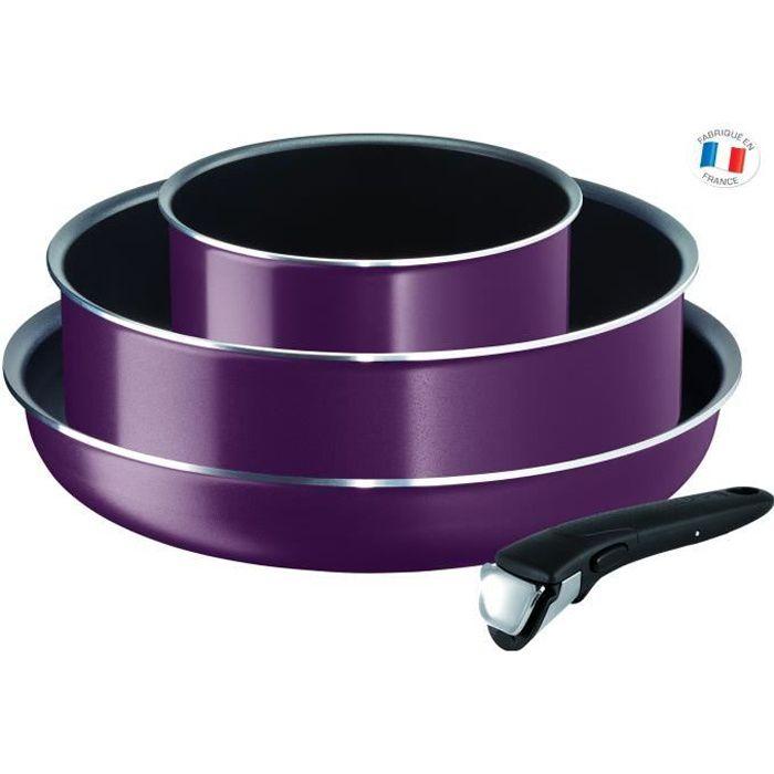 TEFAL INGENIO ESSENTIAL L2019302 Batterie de cuisine 4 Pièces - Violet Byzantium - tous feux hors induction