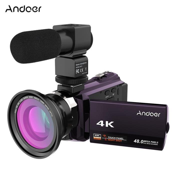 4K 1080 P 48MP WiFi Caméra Vidéo Numérique Caméscope enregistreur Écran tactile 0.39X Grand Angle Macro Microphone Externe