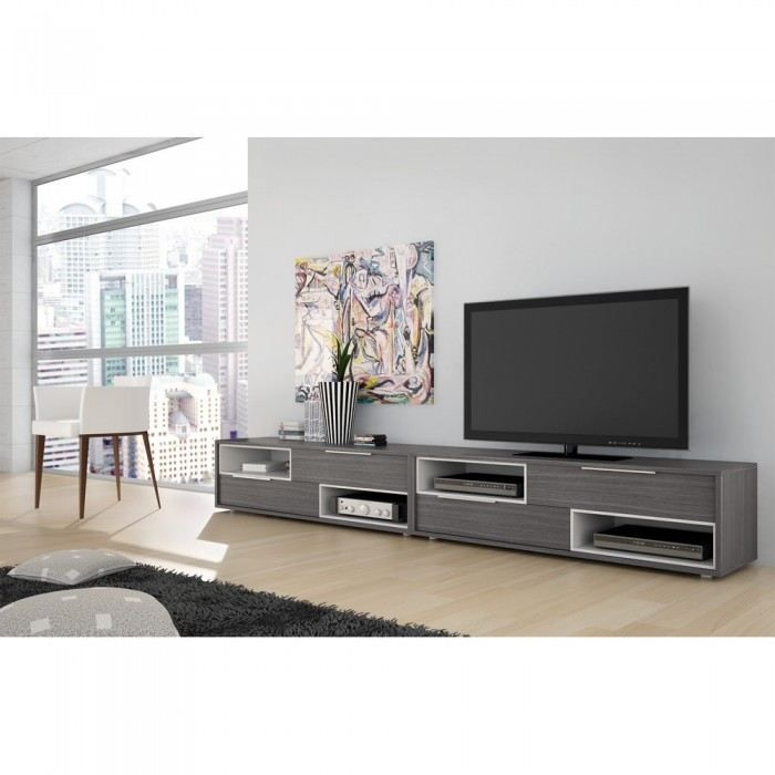 Meuble tv design tiago couleur gris mati re mdf achat for Photo meuble tv design