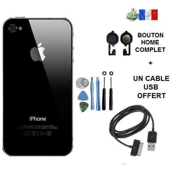 vitre arri re iphone 4 noir cable usb chargeur noir offert bouton home kit outil apple. Black Bedroom Furniture Sets. Home Design Ideas