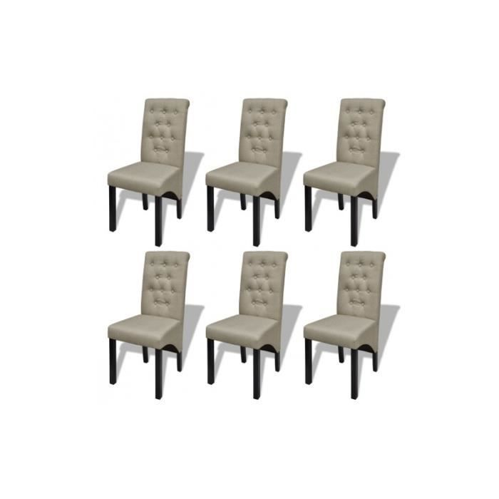 Lot de 6 chaises de salle manger salon beige antique for Lot de chaise salle a manger