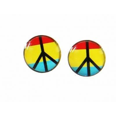 Boucles d 39 oreilles clou peace and love rouge jaune bleu - Boucle d oreille peace and love ...