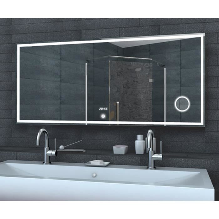 miroir de salle de bain led avec horloge miroir et switch touch 160x60cm achat vente miroir. Black Bedroom Furniture Sets. Home Design Ideas