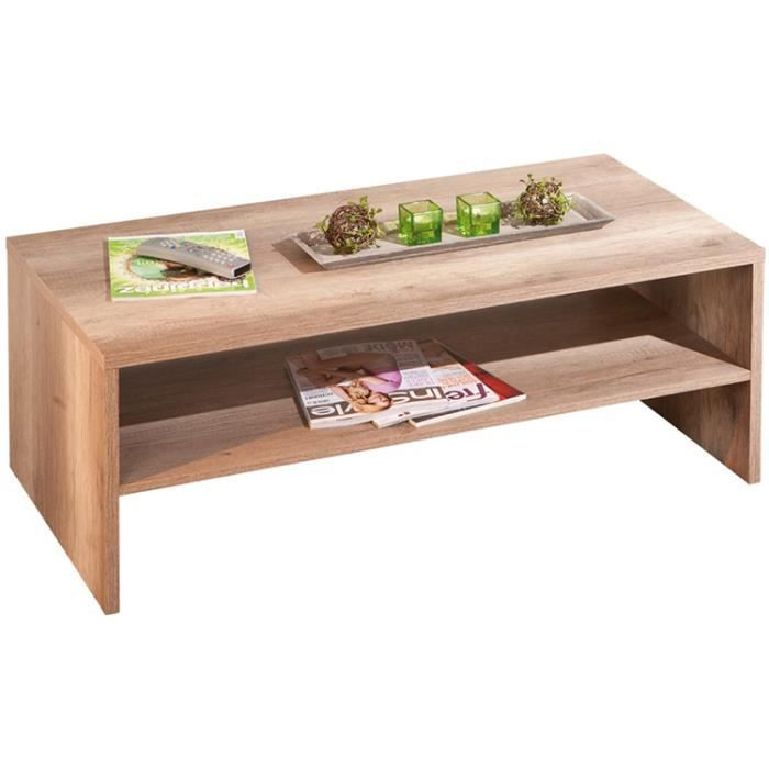 Table basse d cor ch ne sauvage dim 115 x 42 achat vente table bass - Table basse interiors ...