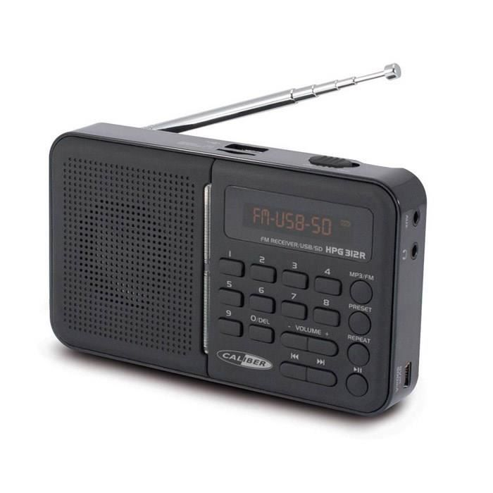 caliber hpg 312r radio fm portable noir usb sd aux fm radio cd cassette avis et prix. Black Bedroom Furniture Sets. Home Design Ideas
