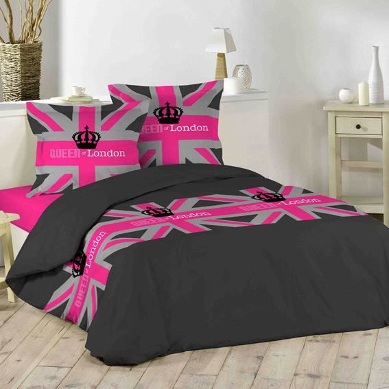 housse de couette et deux taies 240 cm london girl achat vente housse de couette cdiscount. Black Bedroom Furniture Sets. Home Design Ideas