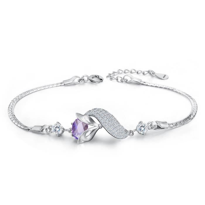 EVER FAITH®Femme 925 Argent Sterling Oxyde de Zirconium Bling Pierre Renard Masque Délicat Animal Bracelet Améthyst