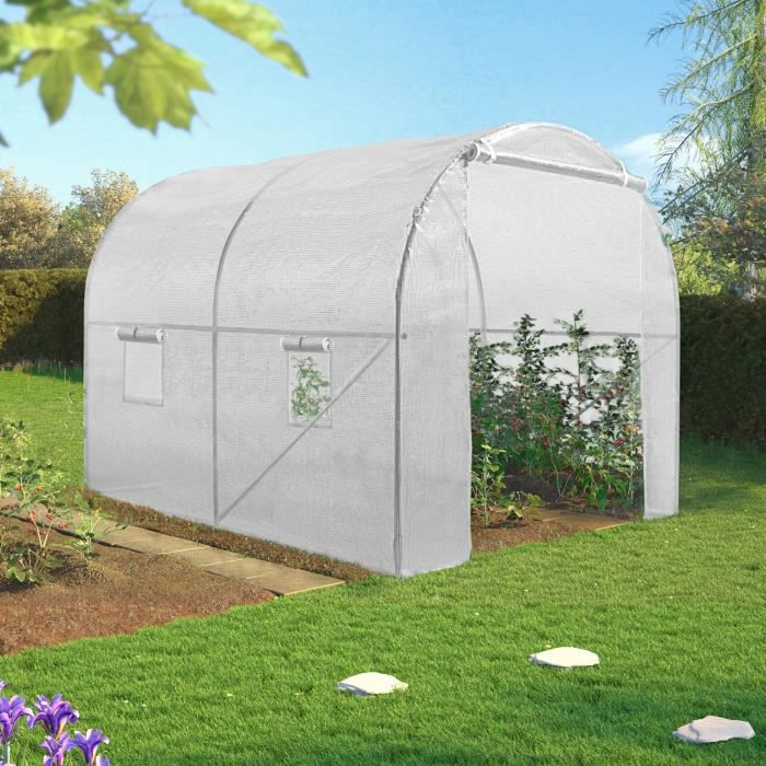 Serre Tunnel 6m Blanche 140g Eco 2 Sections Achat Vente Serre De Jardinage Serre Tunnel 6m Blanche 140g Cdiscount