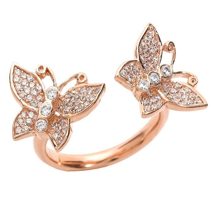 Bague Femme 14 ct Or rose 585/1000 DiamantsDouble Papillon