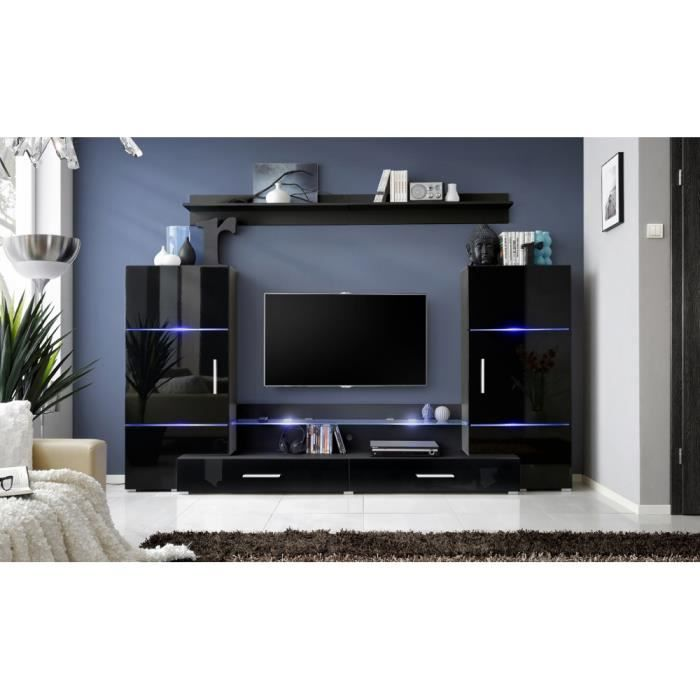 meuble de salon tv design mural toner ii moderne 226cm noir achat vente meuble tv meuble. Black Bedroom Furniture Sets. Home Design Ideas