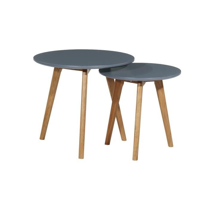 2 tables basses en bois gigognes rondes grises norway for Les tables basses