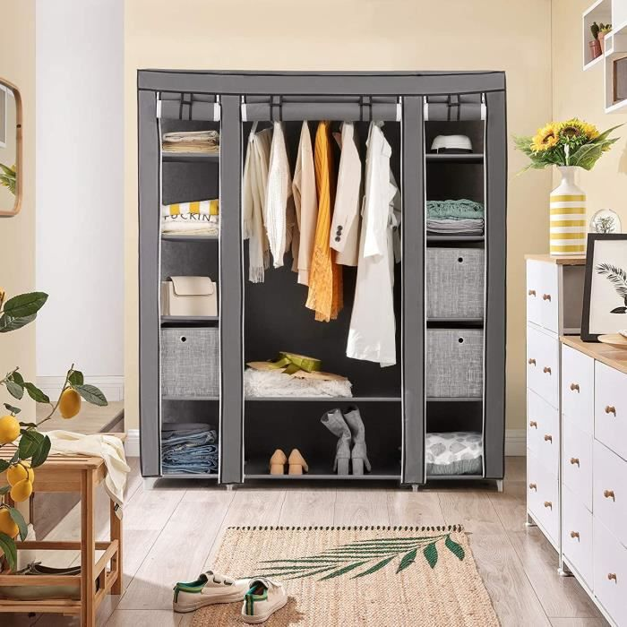 songmics armoire penderie en tissus gris grand format 150. Black Bedroom Furniture Sets. Home Design Ideas