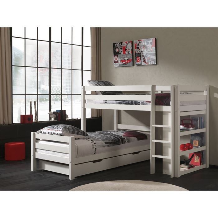lits superpos s en l swithome ruben avec tiroir achat. Black Bedroom Furniture Sets. Home Design Ideas