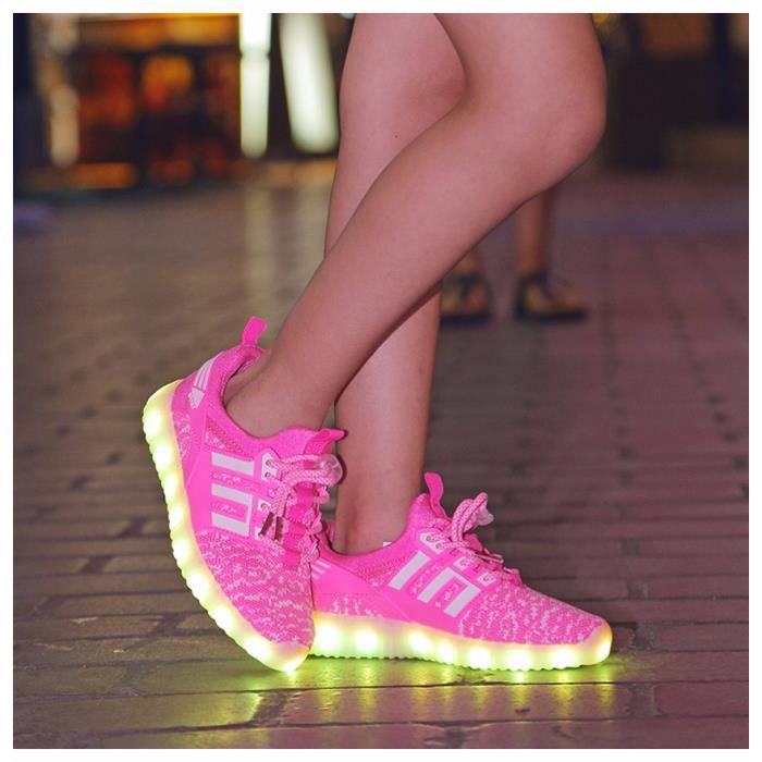 LED Sneakers légère garçons Charge chaussure lumineuse enfants Sports chaussures Baskets à lacets taille 25-37 nMVg8O0