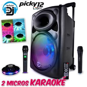 ENCEINTE NOMADE Enceinte sur batterie Karaoké MyDj PICKY12-LED-BT