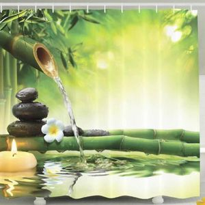 RIDEAU DE DOUCHE Rideau de douche Bambous l'eau pierres fleur bougi