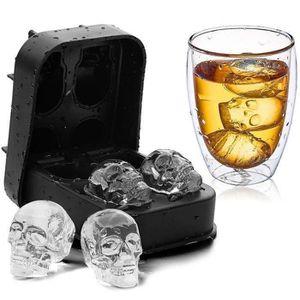 3d glaçons tete de mort en silicone Fête glaçons Halloween Skull Bones forme