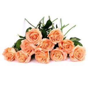 10 Bouquet De Fleurs Artificielles Roses Pu Réel Tactile